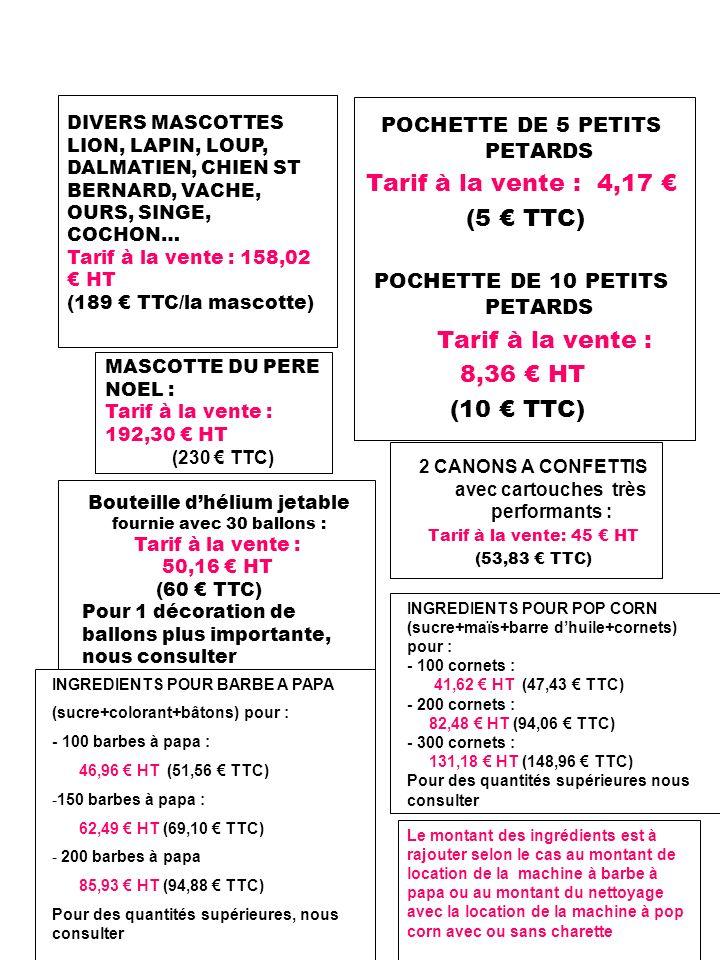 2 CANONS A CONFETTIS avec cartouches très performants : Tarif à la vente: 45 HT (53,83 TTC) POCHETTE DE 5 PETITS PETARDS Tarif à la vente : 4,17 (5 TT