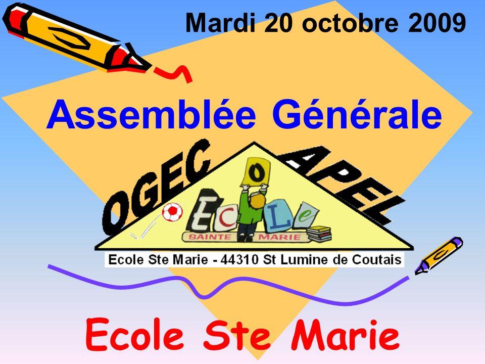 Ecole Ste Marie Mardi 20 octobre 2009 Assemblée Générale
