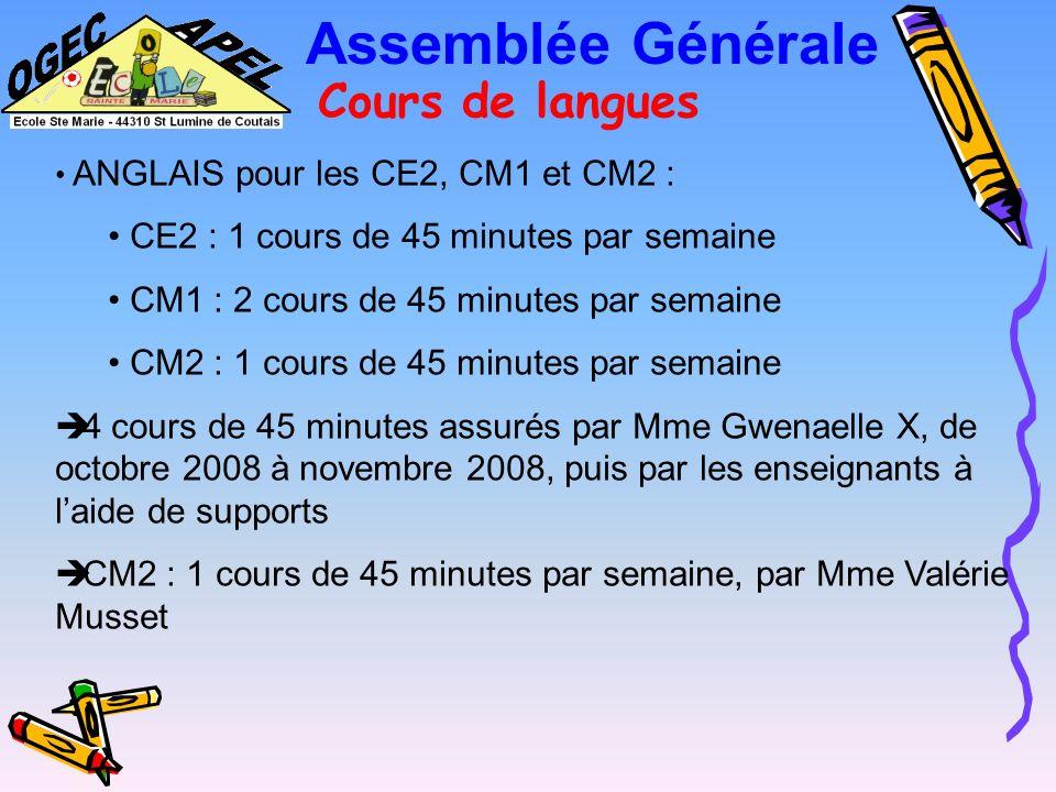 Assemblée Générale Bilan activités 2008-2009 Cours de langues Informatique Travaux Manifestations Atelier costumes