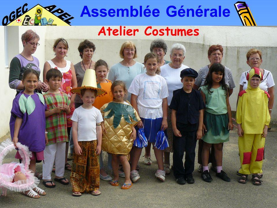 Assemblée Générale Atelier Costumes Lancé en automne 2007 pour fabriquer les costumes des élèves en vue du spectacle de la kermesse.