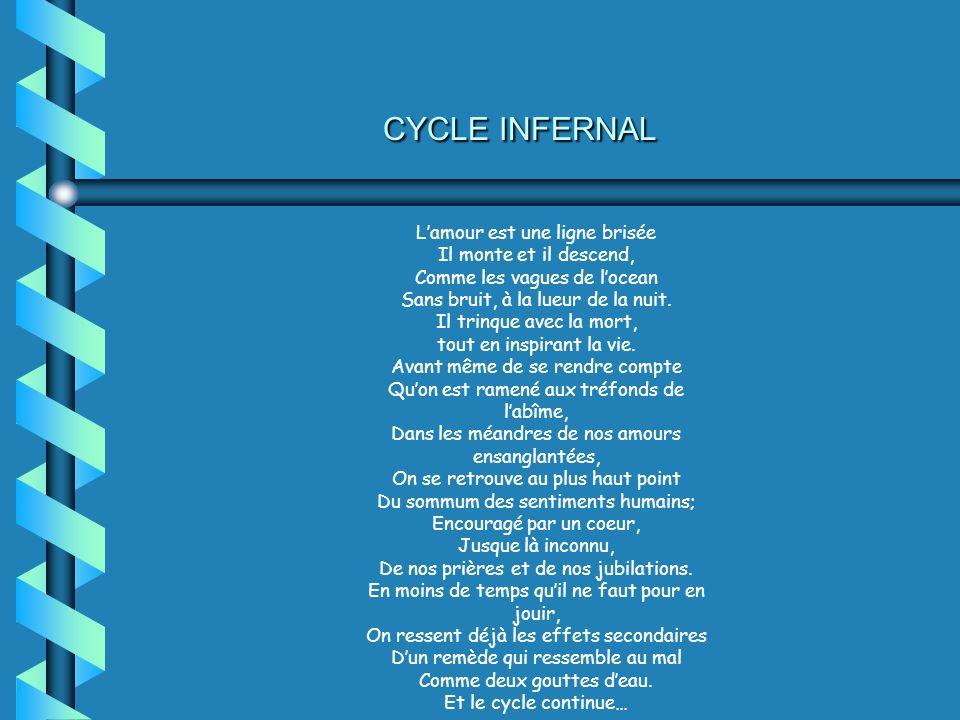 CYCLE INFERNAL Lamour est une ligne brisée Il monte et il descend, Comme les vagues de locean Sans bruit, à la lueur de la nuit. Il trinque avec la mo