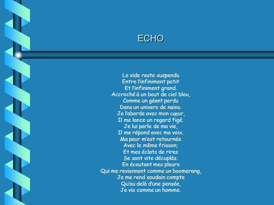 ECHO Le vide reste suspendu Entre linfiniment petit Et linfiniment grand. Accroché à un bout de ciel bleu, Comme un géant perdu Dans un univers de nai