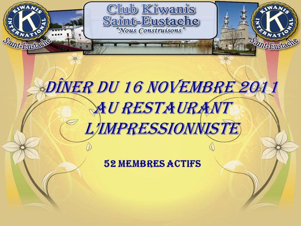 Dîner du 16 novembre 2011 AU RESTAURANT lIMPRESSIONNISTE 52 Membres actifs