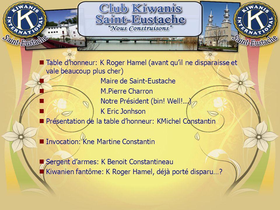 Table dhonneur: K Roger Hamel (avant quil ne disparaisse et vale beaucoup plus cher) Maire de Saint-Eustache M.Pierre Charron Notre Président (bin.