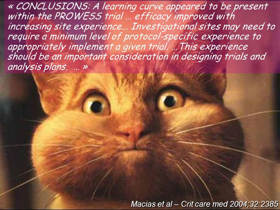 Prowess – a learning curve? Macias et al – Crit care med 2004;32:2385