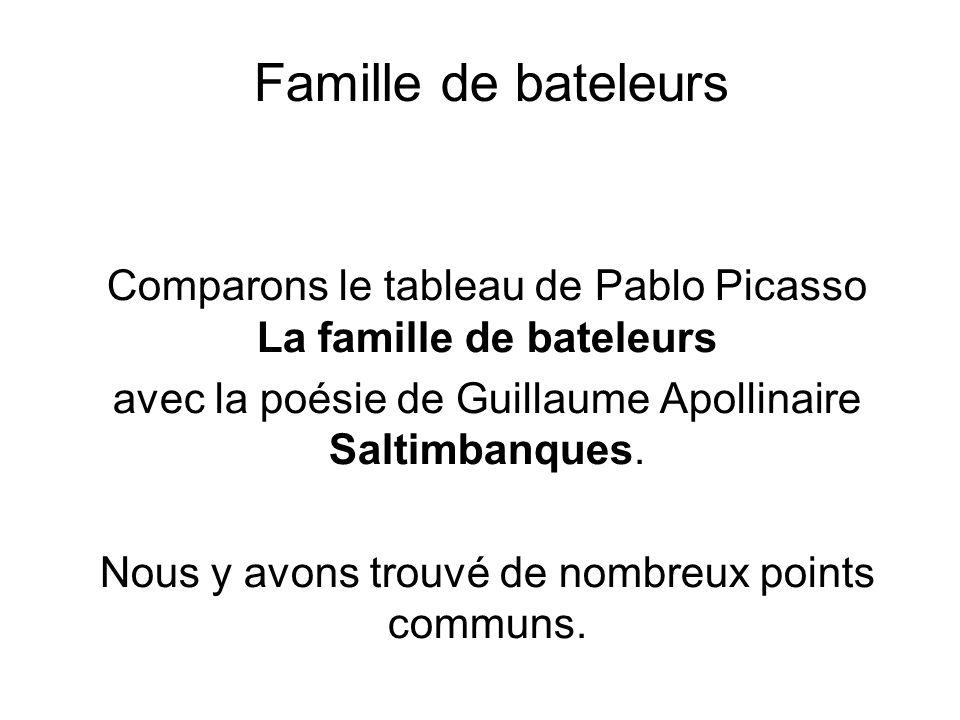Famille de bateleurs Comparons le tableau de Pablo Picasso La famille de bateleurs avec la poésie de Guillaume Apollinaire Saltimbanques. Nous y avons