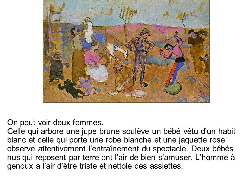 Tout à droite de lillustration, on peut voir une femme accompagné dun enfant qui lui tient la main.