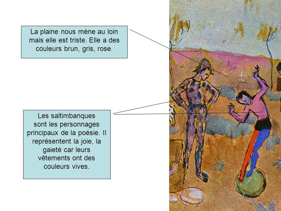 Les saltimbanques sont les personnages principaux de la poésie. Il représentent la joie, la gaieté car leurs vêtements ont des couleurs vives. La plai