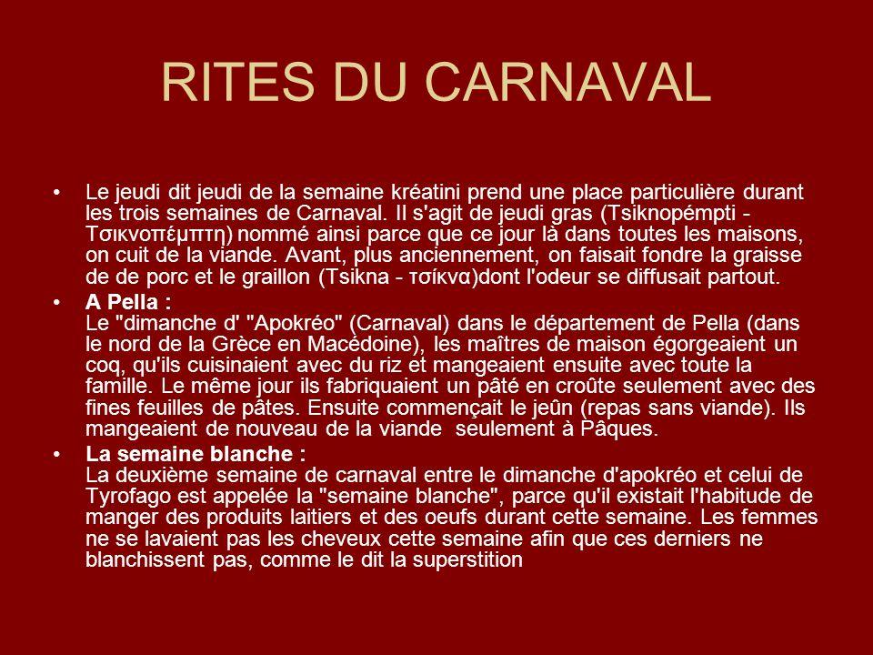 RITES DU CARNAVAL Le jeudi dit jeudi de la semaine kréatini prend une place particulière durant les trois semaines de Carnaval. Il s'agit de jeudi gra