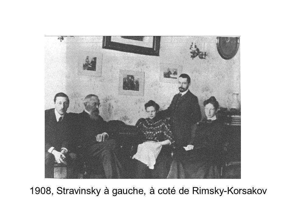 1908, Stravinsky à gauche, à coté de Rimsky-Korsakov