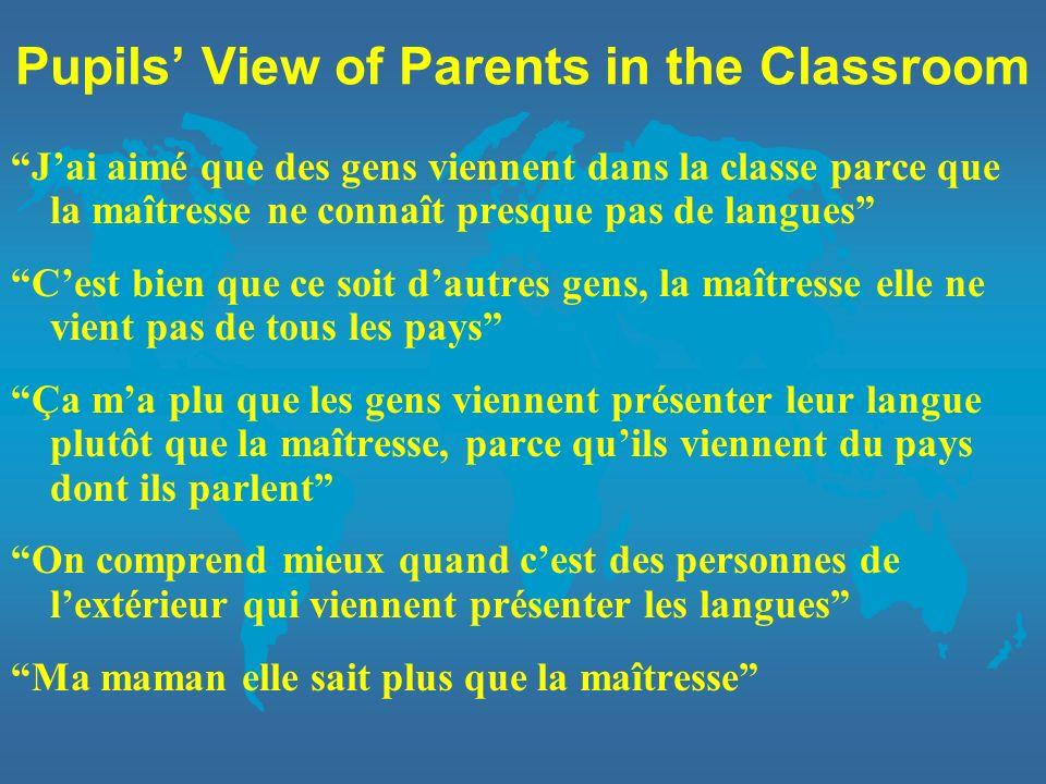 Pupils View of Parents in the Classroom Jai aimé que des gens viennent dans la classe parce que la maîtresse ne connaît presque pas de langues Cest bi