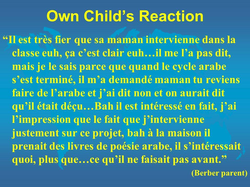 Own Childs Reaction Il est très fier que sa maman intervienne dans la classe euh, ça cest clair euh…il me la pas dit, mais je le sais parce que quand