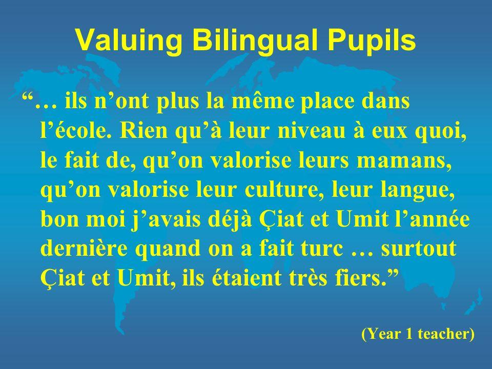 Valuing Bilingual Pupils … ils nont plus la même place dans lécole. Rien quà leur niveau à eux quoi, le fait de, quon valorise leurs mamans, quon valo