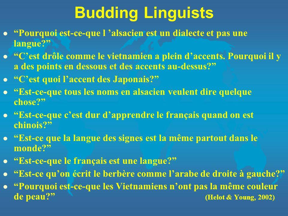 Budding Linguists l Pourquoi est-ce-que l alsacien est un dialecte et pas une langue? l Cest drôle comme le vietnamien a plein daccents. Pourquoi il y