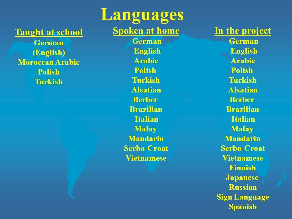 Languages Taught at school German (English) Moroccan Arabic Polish Turkish Spoken at home German English Arabic Polish Turkish Alsatian Berber Brazili