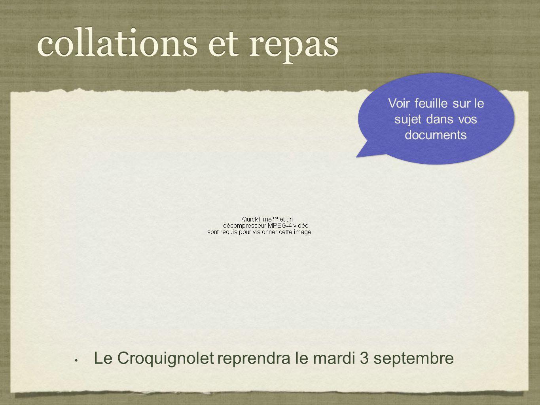collations et repas Le Croquignolet reprendra le mardi 3 septembre Voir feuille sur le sujet dans vos documents