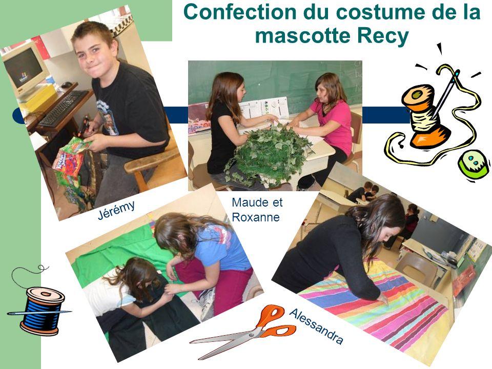 Confection du costume de la mascotte Recy Jérémy Maude et Roxanne Alessandra