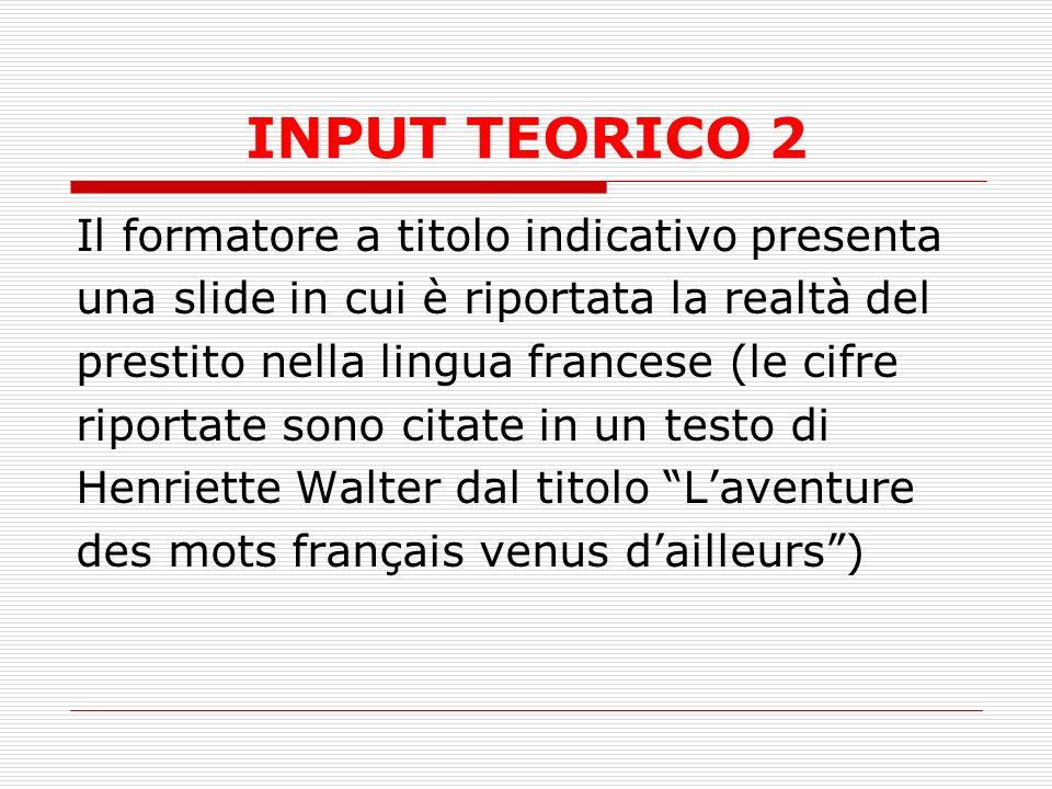 INPUT TEORICO 2 Il formatore a titolo indicativo presenta una slide in cui è riportata la realtà del prestito nella lingua francese (le cifre riportate sono citate in un testo di Henriette Walter dal titolo Laventure des mots français venus dailleurs)
