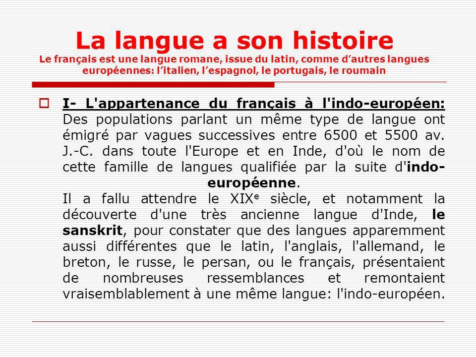 La langue a son histoire Le français est une langue romane, issue du latin, comme dautres langues européennes: litalien, lespagnol, le portugais, le roumain I- L appartenance du français à l indo-européen: Des populations parlant un même type de langue ont émigré par vagues successives entre 6500 et 5500 av.