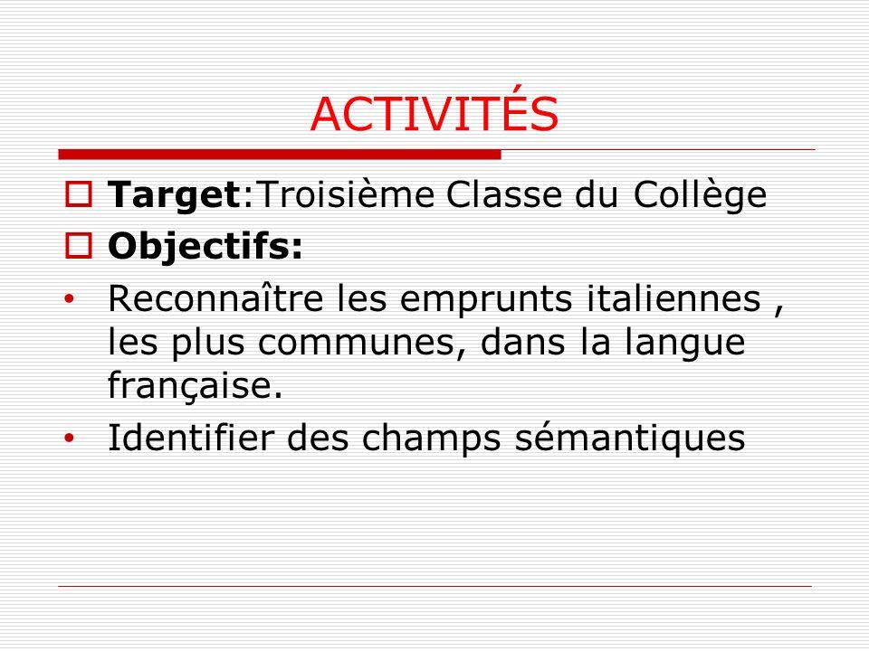 ACTIVITÉS Target:Troisième Classe du Collège Objectifs: Reconnaître les emprunts italiennes, les plus communes, dans la langue française.