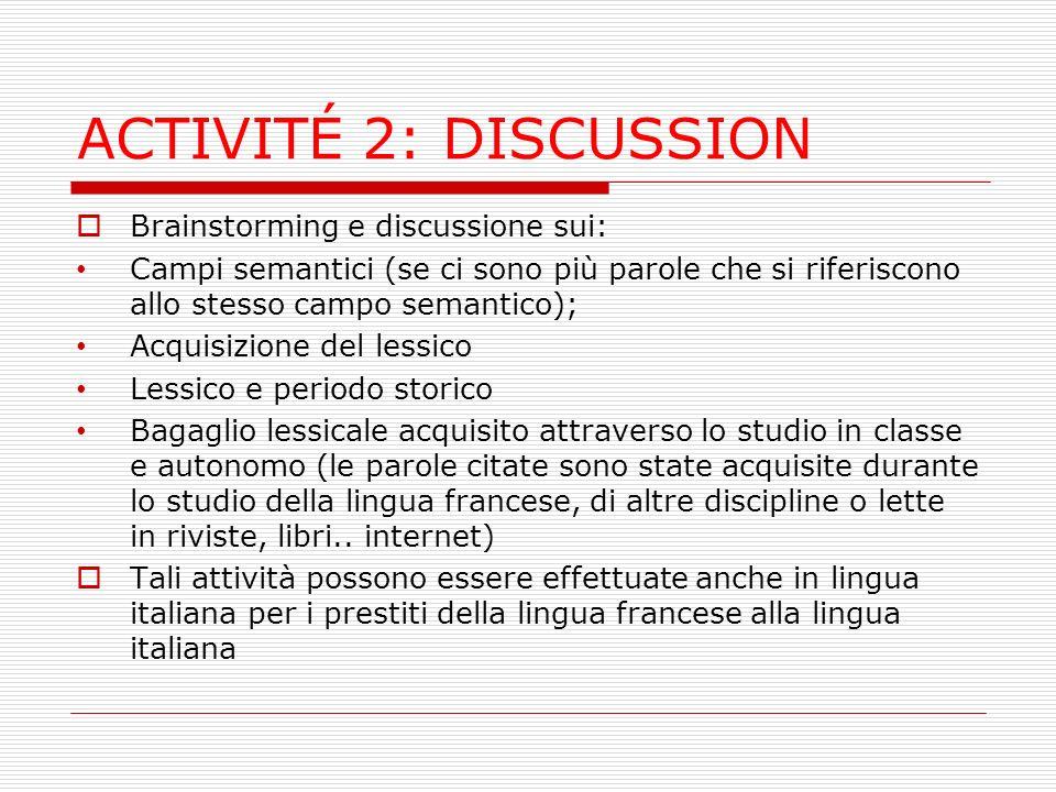 ACTIVITÉ 2: DISCUSSION Brainstorming e discussione sui: Campi semantici (se ci sono più parole che si riferiscono allo stesso campo semantico); Acquis