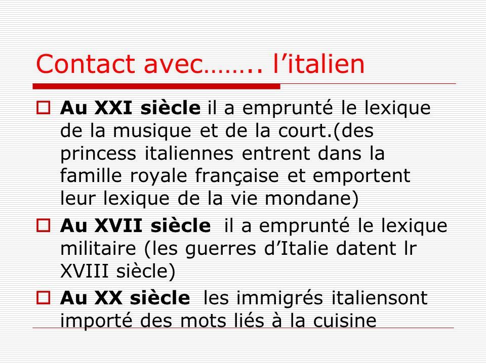 Contact avec…….. litalien Au XXI siècle il a emprunté le lexique de la musique et de la court.(des princess italiennes entrent dans la famille royale