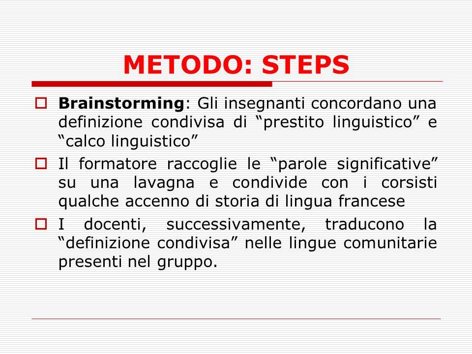 METODO: STEPS Brainstorming: Gli insegnanti concordano una definizione condivisa di prestito linguistico e calco linguistico Il formatore raccoglie le