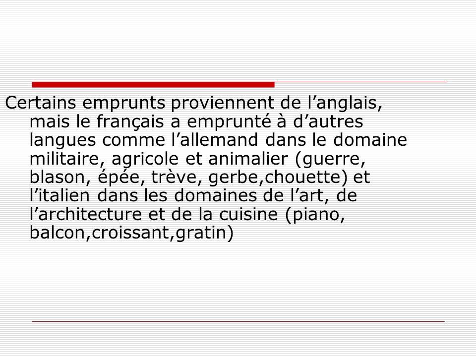 Certains emprunts proviennent de langlais, mais le français a emprunté à dautres langues comme lallemand dans le domaine militaire, agricole et animalier (guerre, blason, épée, trève, gerbe,chouette) et litalien dans les domaines de lart, de larchitecture et de la cuisine (piano, balcon,croissant,gratin)