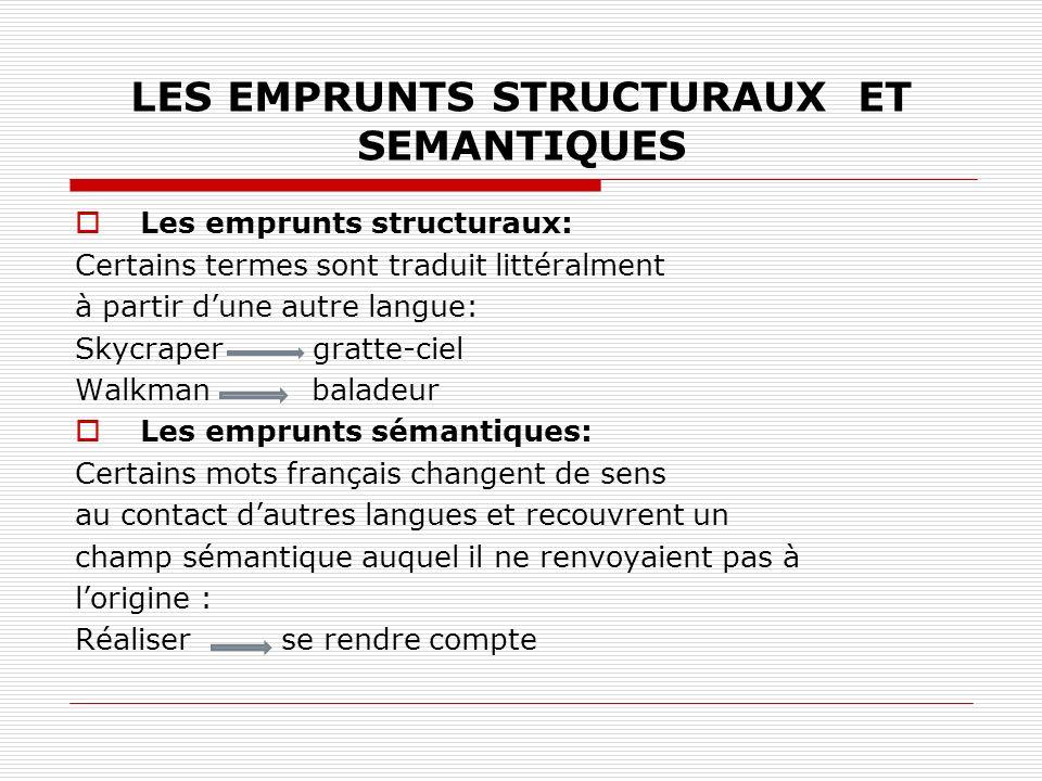 LES EMPRUNTS STRUCTURAUX ET SEMANTIQUES Les emprunts structuraux: Certains termes sont traduit littéralment à partir dune autre langue: Skycraper grat
