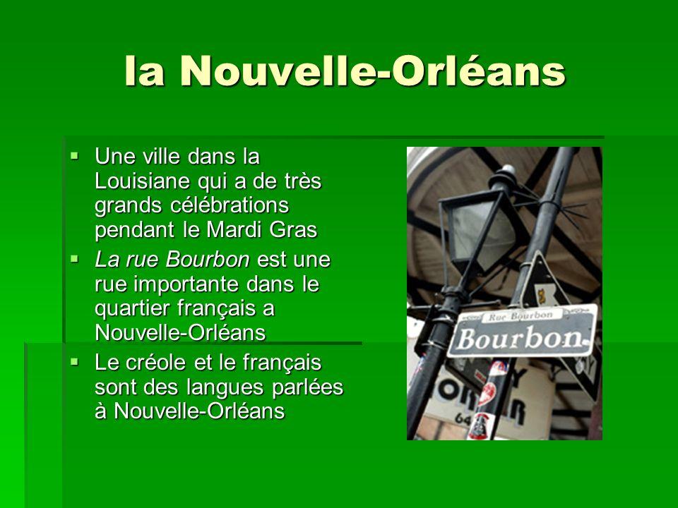 la Nouvelle-Orléans Une ville dans la Louisiane qui a de très grands célébrations pendant le Mardi Gras Une ville dans la Louisiane qui a de très grands célébrations pendant le Mardi Gras La rue Bourbon est une rue importante dans le quartier français a Nouvelle-Orléans La rue Bourbon est une rue importante dans le quartier français a Nouvelle-Orléans Le créole et le français sont des langues parlées à Nouvelle-Orléans Le créole et le français sont des langues parlées à Nouvelle-Orléans