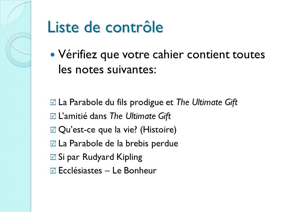 Liste de contrôle Vérifiez que votre cahier contient toutes les notes suivantes: La Parabole du fils prodigue et The Ultimate Gift Lamitié dans The Ul