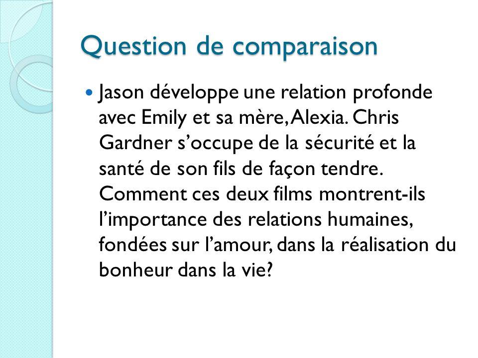 Question de comparaison Jason développe une relation profonde avec Emily et sa mère, Alexia. Chris Gardner soccupe de la sécurité et la santé de son f