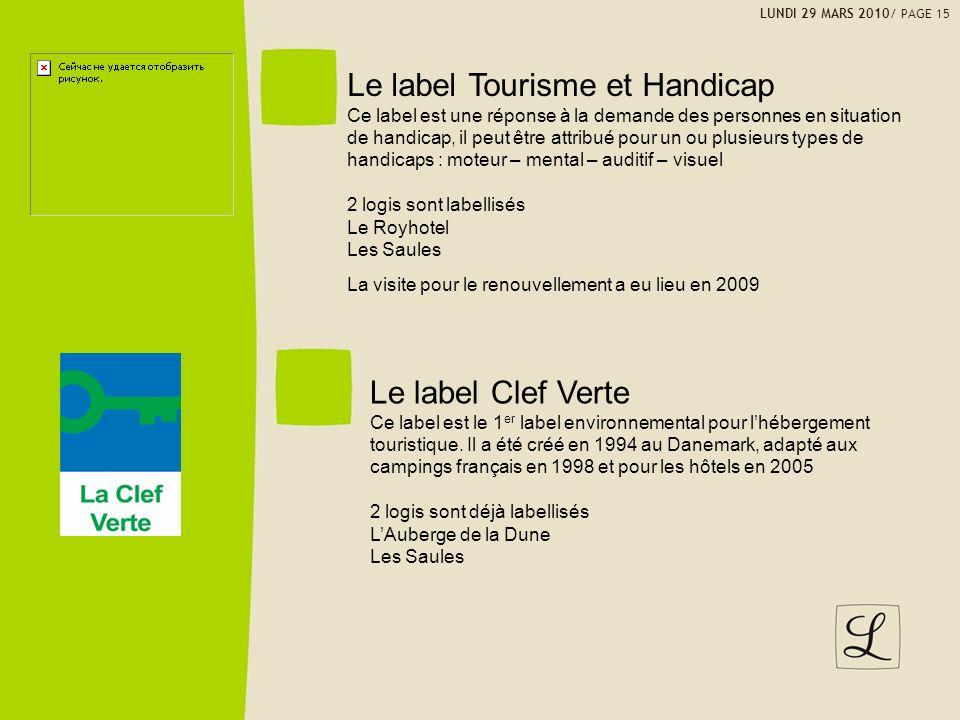 LUNDI 29 MARS 2010/ PAGE 15 Le label Tourisme et Handicap Ce label est une réponse à la demande des personnes en situation de handicap, il peut être a