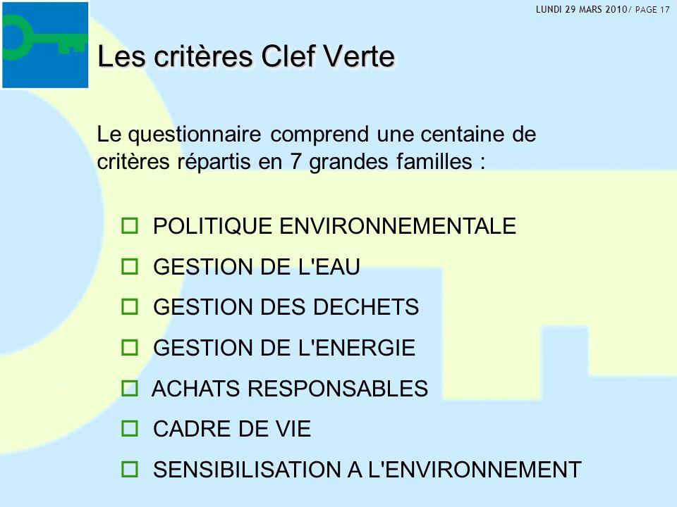 Les critères Clef Verte POLITIQUE ENVIRONNEMENTALE GESTION DE L EAU GESTION DES DECHETS GESTION DE L ENERGIE ACHATS RESPONSABLES CADRE DE VIE SENSIBILISATION A L ENVIRONNEMENT Le questionnaire comprend une centaine de critères répartis en 7 grandes familles : LUNDI 29 MARS 2010/ PAGE 17