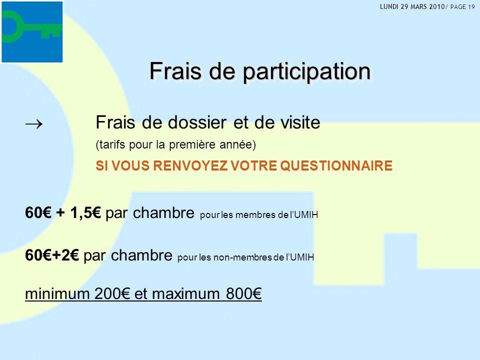 Frais de dossier et de visite (tarifs pour la première année) SI VOUS RENVOYEZ VOTRE QUESTIONNAIRE 60 + 1,5 par chambre pour les membres de lUMIH 60+2