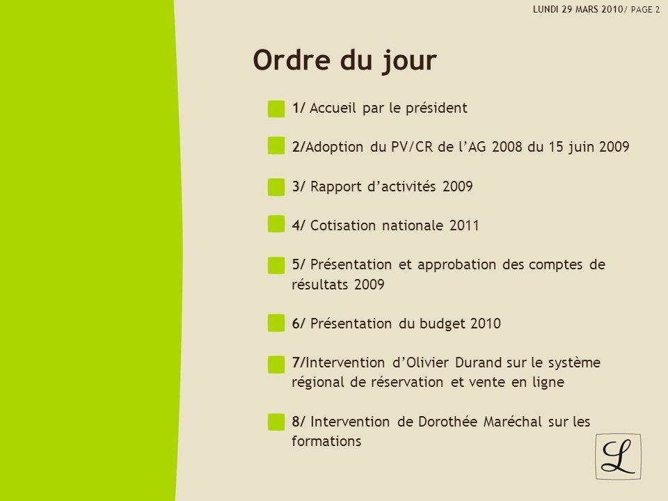 Ordre du jour 1/ Accueil par le président 2/Adoption du PV/CR de lAG 2008 du 15 juin 2009 3/ Rapport dactivités 2009 4/ Cotisation nationale 2011 5/ P
