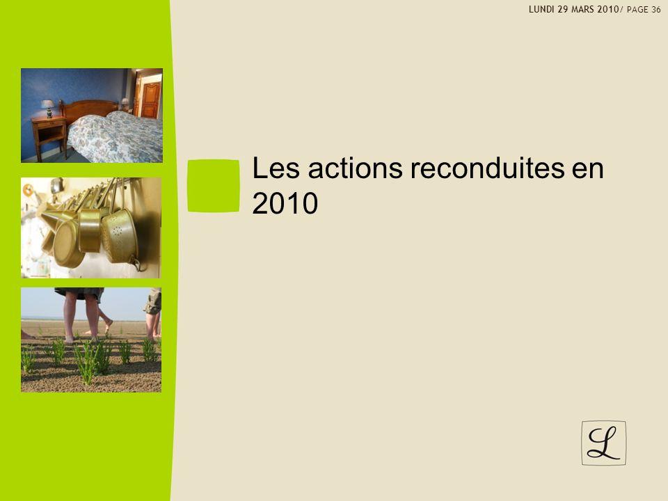 Les actions reconduites en 2010 LUNDI 29 MARS 2010/ PAGE 36