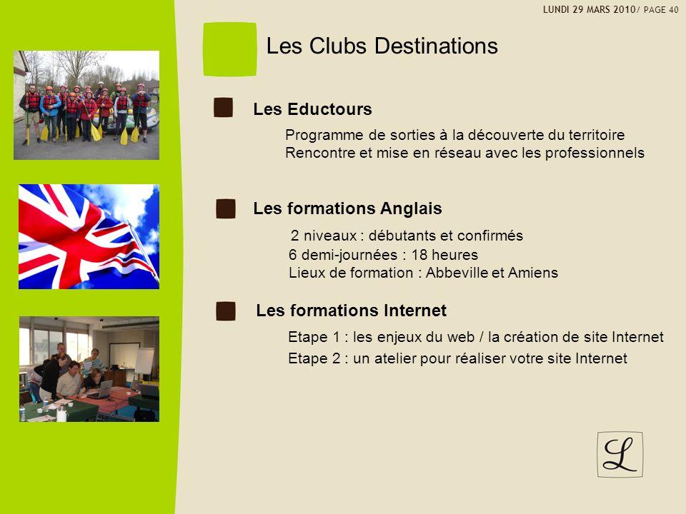 Les Clubs Destinations 2 niveaux : débutants et confirmés 6 demi-journées : 18 heures Lieux de formation : Abbeville et Amiens LUNDI 29 MARS 2010/ PAG