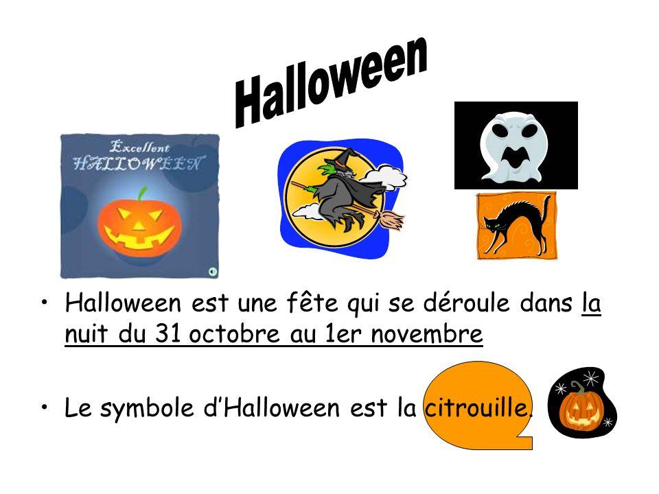 Halloween est une fête qui se déroule dans la nuit du 31 octobre au 1er novembre Le symbole dHalloween est la citrouille.