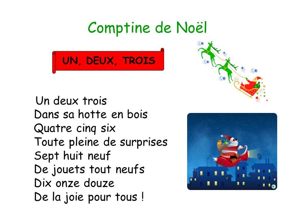 Comptine de Noël Un deux trois Dans sa hotte en bois Quatre cinq six Toute pleine de surprises Sept huit neuf De jouets tout neufs Dix onze douze De l