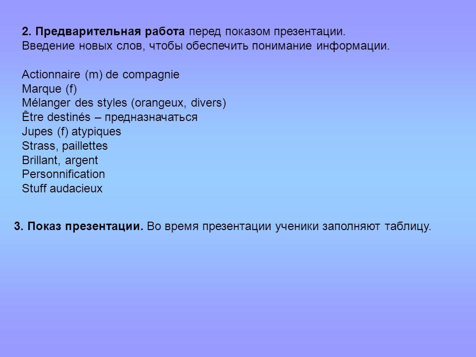 2. Предварительная работа перед показом презентации. Введение новых слов, чтобы обеспечить понимание информации. Actionnaire (m) de compagnie Marque (