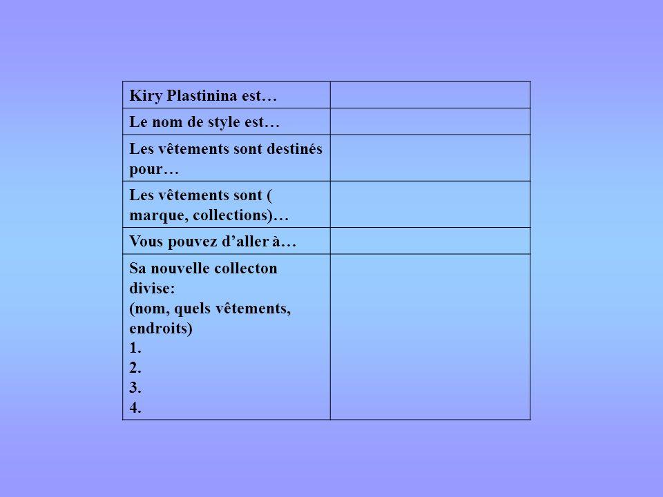 Kiry Plastinina est… Le nom de style est… Les vêtements sont destinés pour… Les vêtements sont ( marque, collections)… Vous pouvez daller à… Sa nouvel