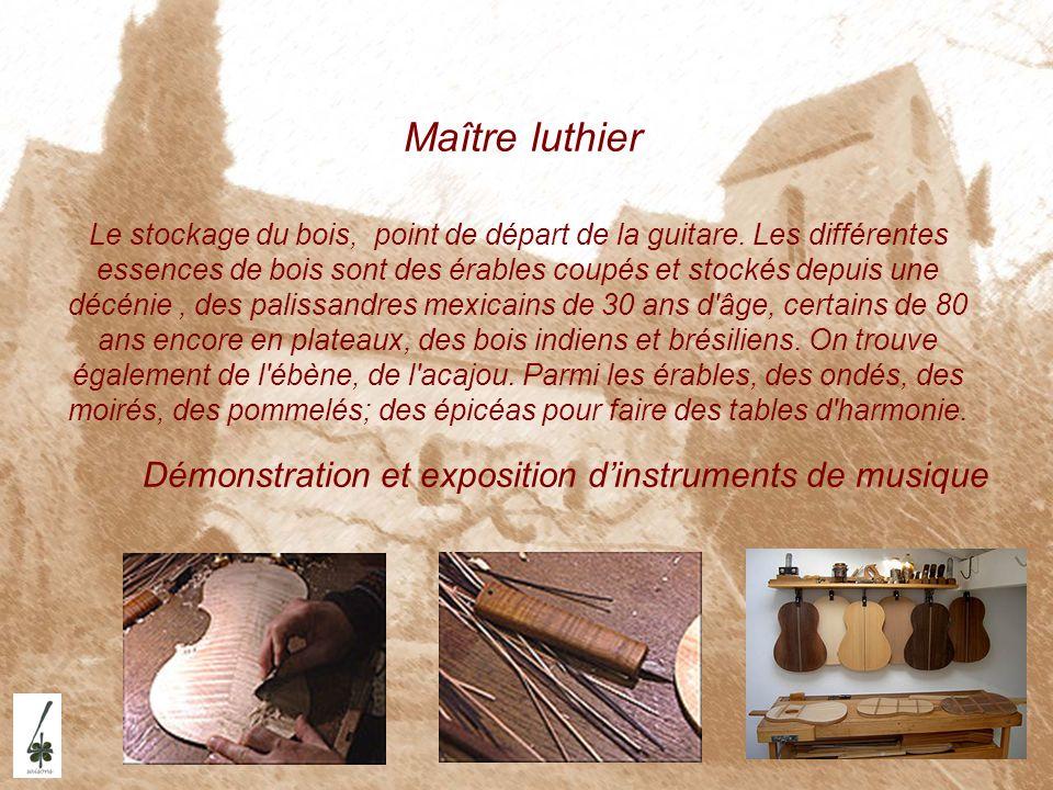 Maître luthier Le stockage du bois, point de départ de la guitare. Les différentes essences de bois sont des érables coupés et stockés depuis une décé