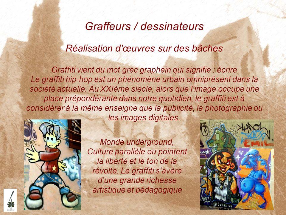 Graffeurs / dessinateurs Réalisation dœuvres sur des bâches Graffiti vient du mot grec graphein qui signifie : écrire Le graffiti hip-hop est un phéno