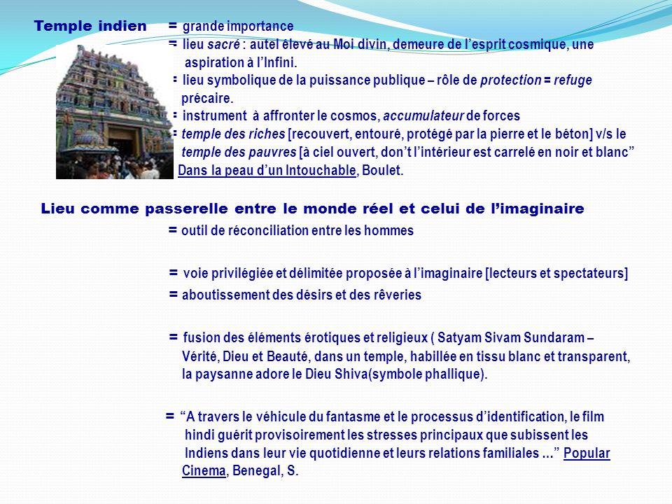 Temple indien = grande importance = lieu sacré : autel élevé au Moi divin, demeure de lesprit cosmique, une aspiration à lInfini. = lieu symbolique de