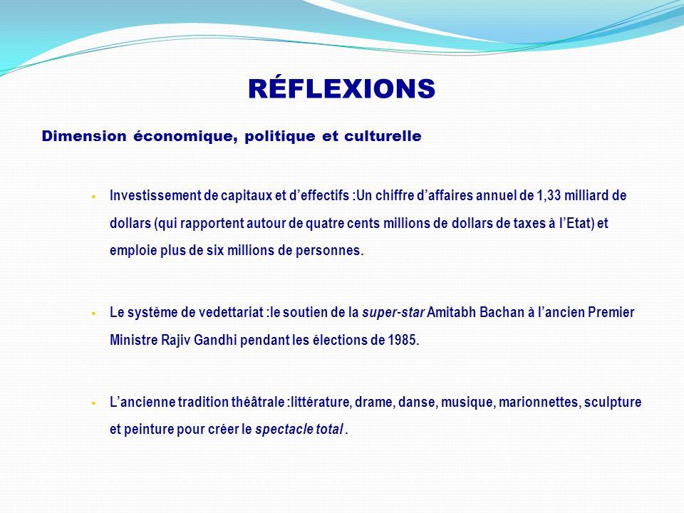 RÉFLEXIONS Dimension économique, politique et culturelle Investissement de capitaux et deffectifs :Un chiffre daffaires annuel de 1,33 milliard de dol