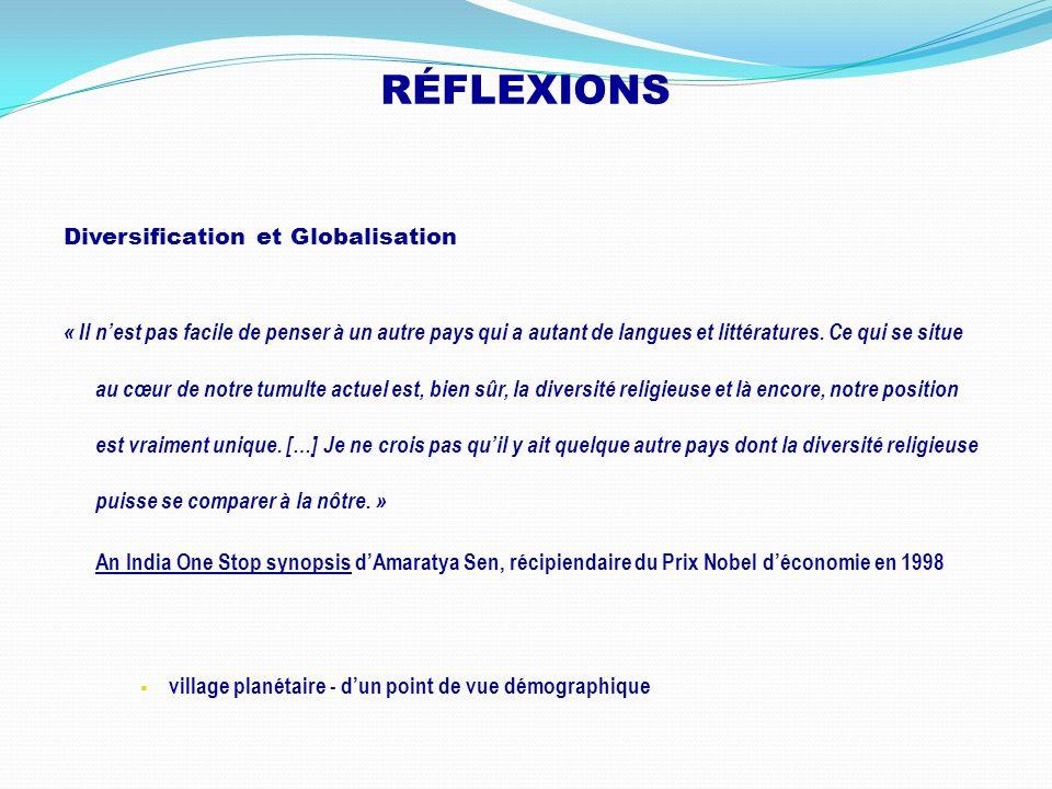 RÉFLEXIONS Diversification et Globalisation « Il nest pas facile de penser à un autre pays qui a autant de langues et littératures. Ce qui se situe au