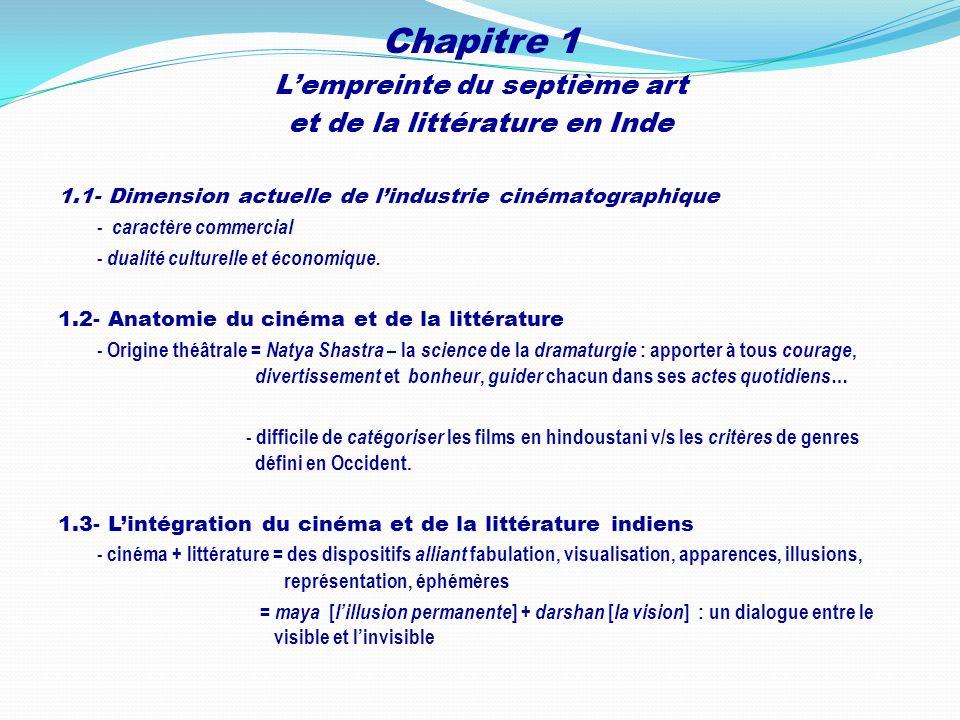 Chapitre 1 Lempreinte du septième art et de la littérature en Inde 1.1- Dimension actuelle de lindustrie cinématographique - caractère commercial - du