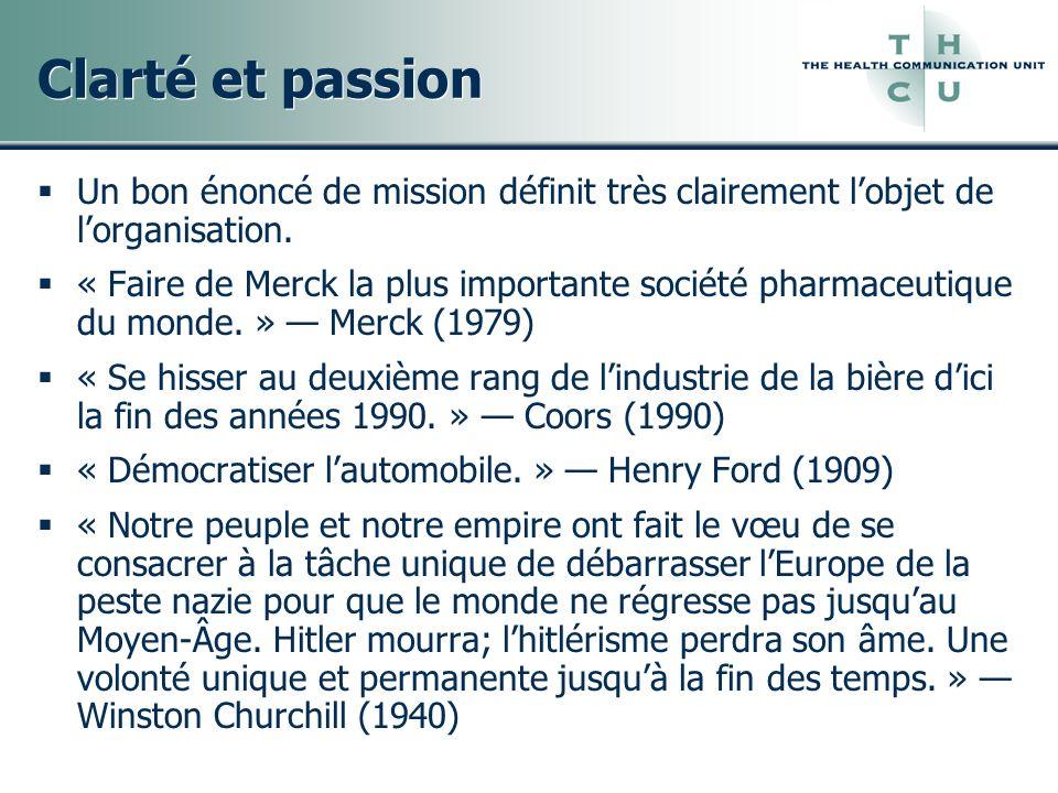 Clarté et passion Un bon énoncé de mission définit très clairement lobjet de lorganisation. « Faire de Merck la plus importante société pharmaceutique