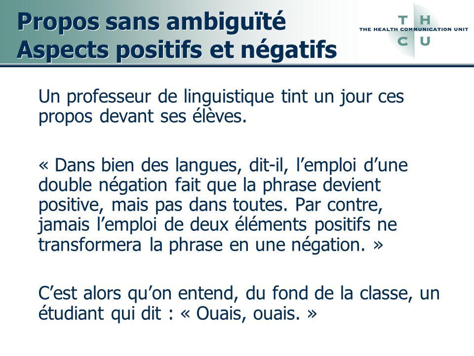 Propos sans ambiguïté Aspects positifs et négatifs Un professeur de linguistique tint un jour ces propos devant ses élèves. « Dans bien des langues, d
